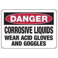Chemical Warning Signs - Danger Corrosive Liquids