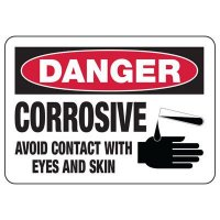 Chemical Warning Signs - Danger Corrosive Avoid Contact