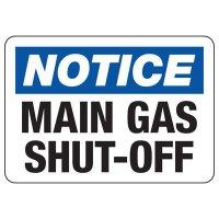 Notice Main Gas Shut-Off Safety Sign