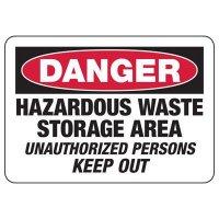 Danger Hazardous Waste Storage Unauthorized Sign