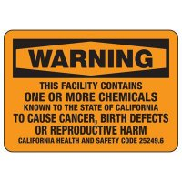 Warning California Facility Contains Harmful Chemicals Sign
