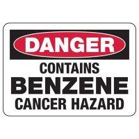 Danger Contains Benzene Cancer Hazard Sign