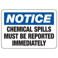 Chemical Warning Signs - Notice Report Chemical Spills