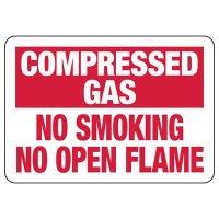Compressed Gas No Smoking Sign