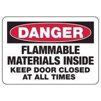Keep Door Closed Flammable Materials Sign