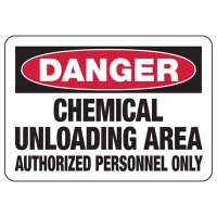 Danger Chemical Unloading Area Authorized Sign
