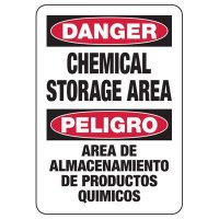 Bilingual Danger Chemical Storage Area Sign