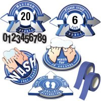 3D Social Distancing Label Kit for Classrooms - Blue