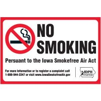 Iowa No Smoking Window Decal