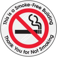 Smoke Free Building Clear Adhesive Labels