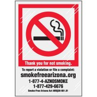 Arizona No Smoking Window Decal