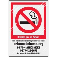 Spanish Arizona No Smoking Window Decal
