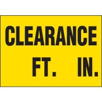 Clearance Feet and Inches Labels