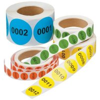 """Numbered Inventory Labels - 1"""" Diameter"""