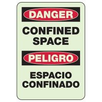 Bilingual Glowing Danger Confined Space Sign