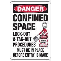 Danger Confined Space Procedures Signs