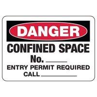 Danger Confined Space Number Sign