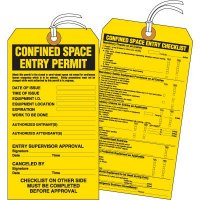 Cardstock Confined Space Entry Permit Tag