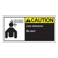 Conveyor Safety Labels - Caution Low Clearance Be Alert
