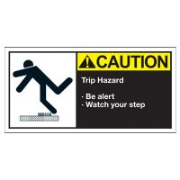 Conveyor Safety Labels - Caution Trip Hazard Be Alert Watch Your Step