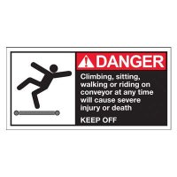 Conveyor Safety Labels - Danger Climbing, Sitting, Walking Or Riding