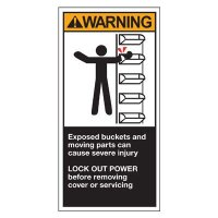 Conveyor Safety Labels - Warning Exposed Buckets And Moving Parts