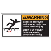 Conveyor Safety Labels - Warning Exposed Conveyors And Moving Parts