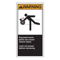 Conveyor Safety Labels - Warning Exposed Moving Parts Can Cause Severe Injury Lock Out