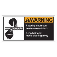 Conveyor Safety Labels - Warning Rotating Shaft Can Cause Injury