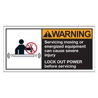 Conveyor Safety Labels - Warning Servicing Or Energized Equipment