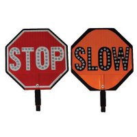 "STOP/SLOW - 18"" H x 18"" W Plastic High-Intensity Prismatic (HIP) Traffic Control Paddle"