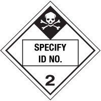 Custom Class 2 Poison DOT Placard