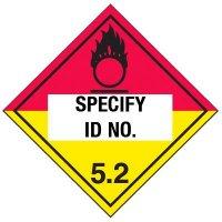 Custom Class 5 Oxidizer DOT Placard