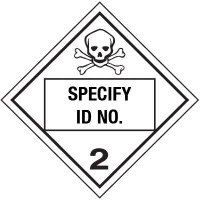 Custom Class 2 Toxic Gas DOT Placard