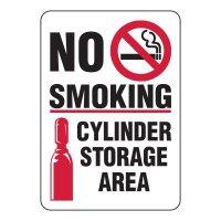 No Smoking Cylinder Storage Area Sign