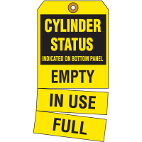 Cylinder Status Tags- Cylinder Status Indicated On Bottom Panel... Empty / In Use / Full
