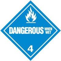 Dangerous When Wet 4 D.O.T. Placards