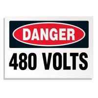 Voltage Warning Labels - Danger 480 Volts