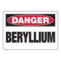 Danger Beryllium - Chemical Warning Signs