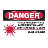 "Danger Class 3B Laser - Laser Equipment Warning Labels, 10""W x 7""H"