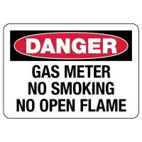 Danger: Gas Meter No Smoking No Open Flame Sign