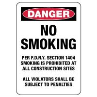 Danger: No Smoking Violators Are Subject To Fines Sign