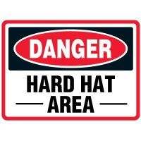 Hard Hat Area Traffic Cone Signs