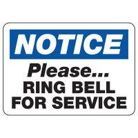 Notice Ring Bell For Service Sign