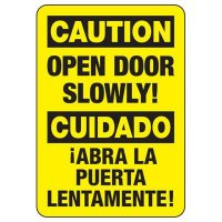 Bilingual Open Door Slowly Sign