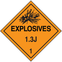 1.3J DOT Explosive Placards