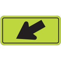 Down Left Arrow Graphic - Fluorescent Pedestrian Signs