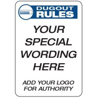 Dugout Rules - Custom School Safety Signs