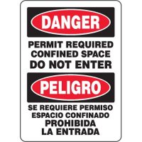Bilingual Eco-Friendly Signs - Danger Permit Required Confined Space Do Not Enter