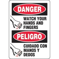 Bilingual Eco-Friendly Signs - Danger Watch Your Hands and Finger/ Peligro Cuidado Con Manos Y Dedos
